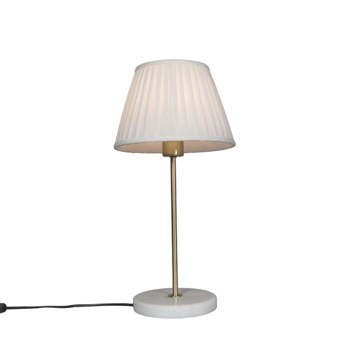 Retro-tafellamp-messing-met-Plisse-kap-crème-25-cm---Kaso