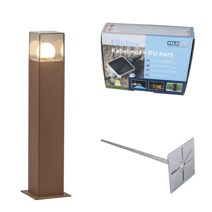 Buitenlamp-50-cm-roestbruin-met-grondpin-en-kabelmof---Denmark