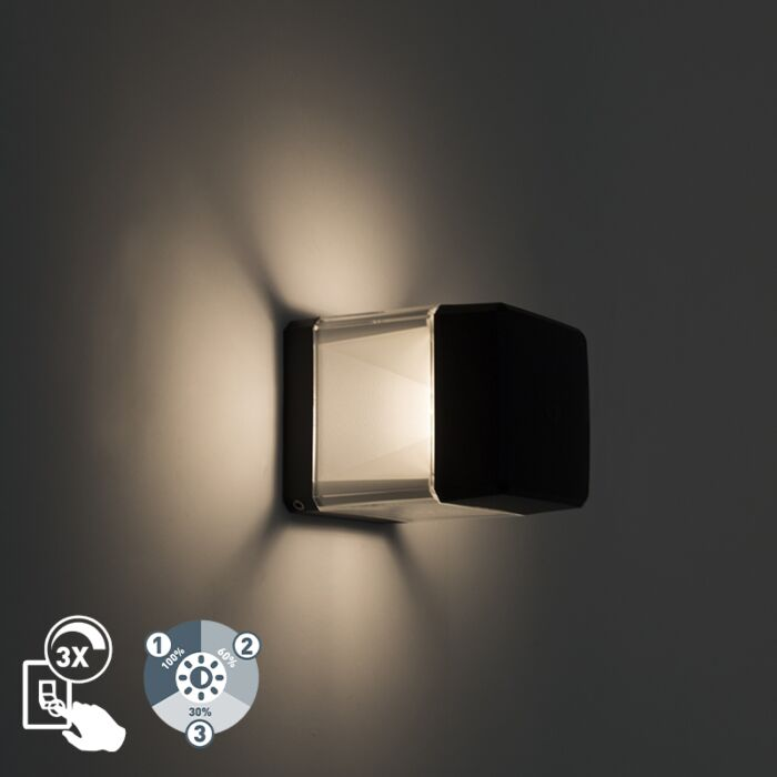 Moderne-buitenwandlamp-zwart-incl-LED-IP55---Elisa