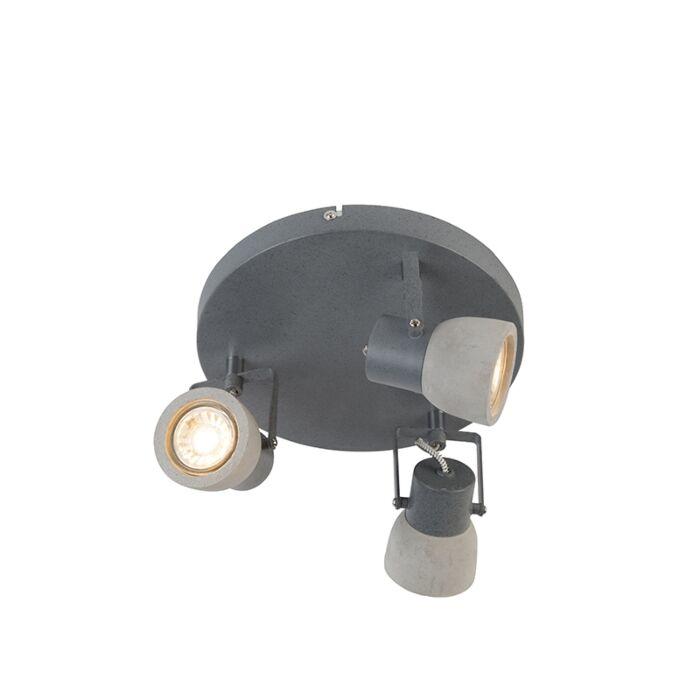 Industriele-ronde-spot-grijs-beton-3-lichts---Creto