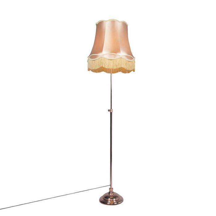 Vloerlamp-Accia-koper-met-kap-Granny-45cm-goud