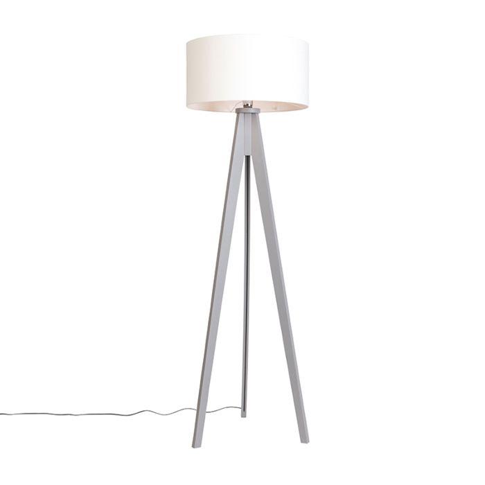 Vloerlamp-Tripod-Classic-grijs-met-kap-50cm-off-white