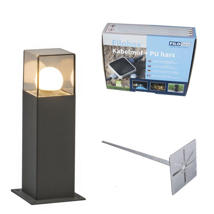 Buitenlamp-30-cm-antraciet-met-grondpin-en-kabelmof---Denmark