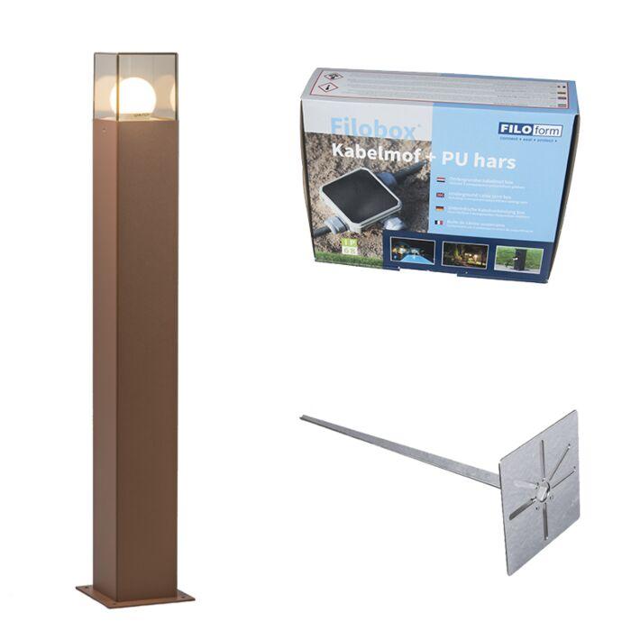 Buitenlamp-70-cm-roestbruin-met-grondpin-en-kabelmof---Denmark
