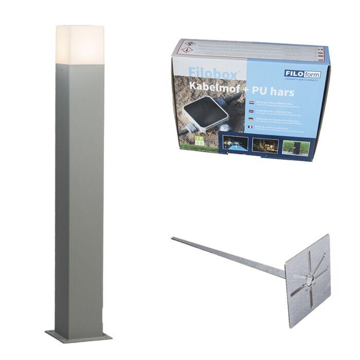 Buitenlamp-Denmark-P70-grijs-met-grondpin-en-kabelmof