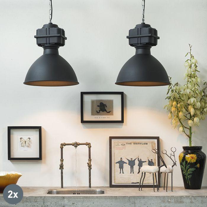 Set-van-2-industriële-hanglampen-klein-mat-zwart---Sicko