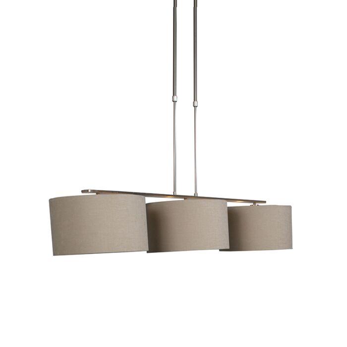 Moderne-hanglamp-staal-met-kap-beige---Combi-3-Deluxe