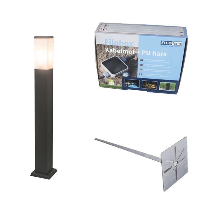 Buitenlamp-antraciet-80cm-IP44---Malios-met-grondpin-en-kabelmof