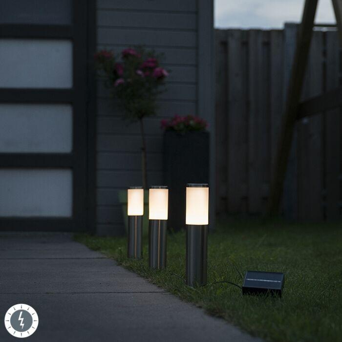 Set-van-3-prikspots-staal-incl.-LED-IP44-solar--Rox