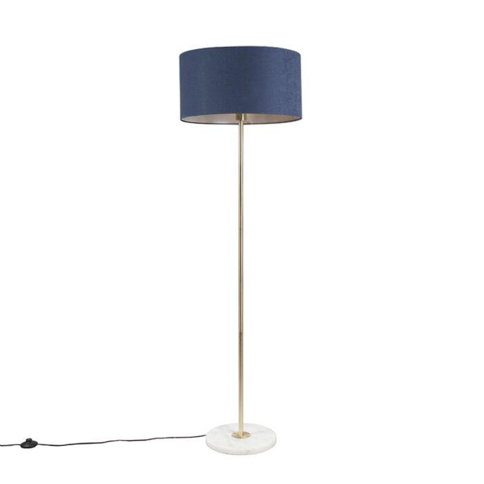 Vloerlamp-messing-met-blauwe-kap-50-cm---Kaso