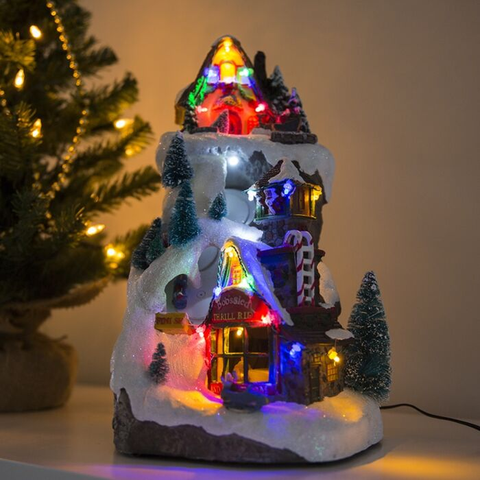 Kersthuisje-Bobslee-LED-multikleur