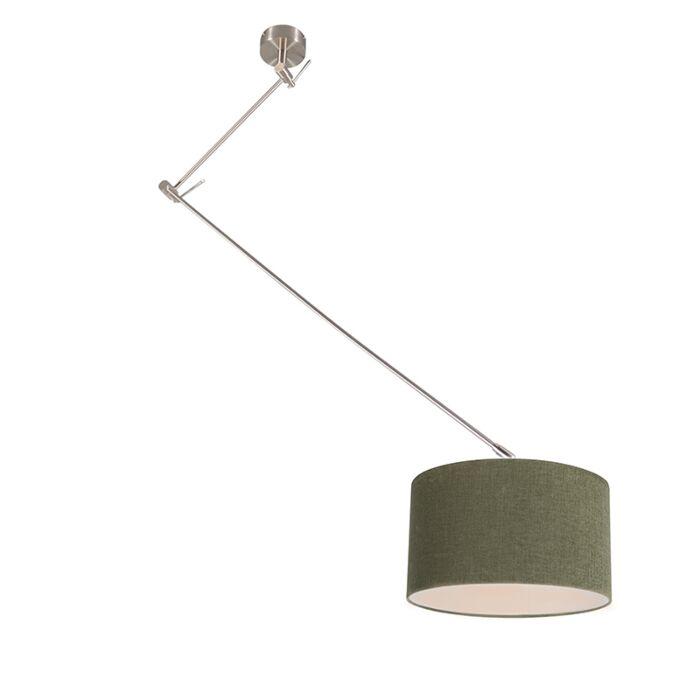Hanglamp-staal-met-kap-35-cm-groen-verstelbaar---Blitz-I