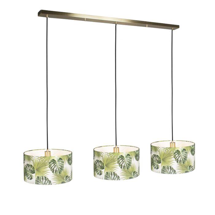 Hanglamp-Combi-3-goud-met-kap-35cm-leaf