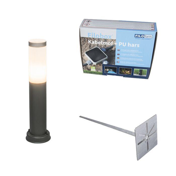 Buitenlamp-paal-antraciet-45-cm-IP44---Rox-met-grondpin-en-kabelmof