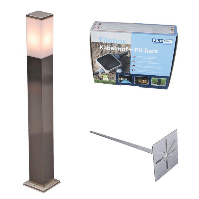 Buitenlamp-staal-80cm-IP44---Malios-met-grondpin-en-kabelmof