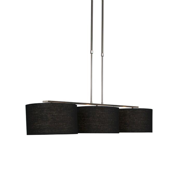 Moderne-hanglamp-staal-met-kap-35-cm-zwart---Combi-3-Deluxe