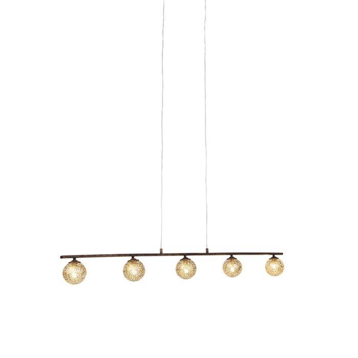 Landelijke-hanglamp-5-lichts-roestbruin---Kreta