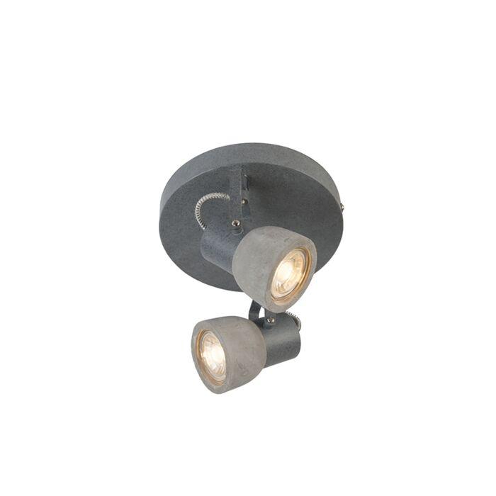 Industriele-ronde-spot-grijs-beton-2-lichts---Creto