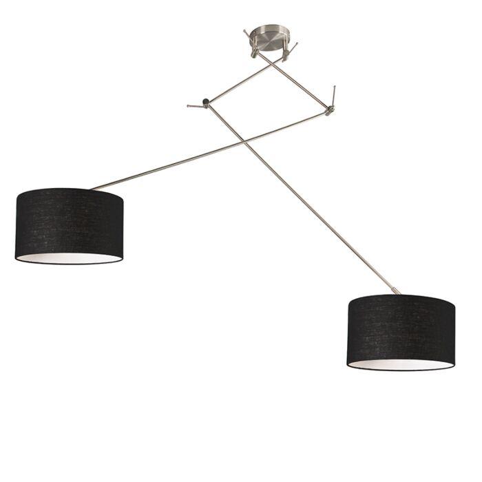 Hanglamp-staal-met-kap-35-cm-zwart-verstelbaar---Blitz-II