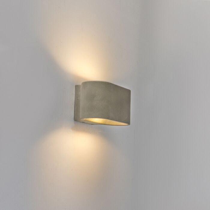 Landelijke-ovale-buitenwandlamp-beton-IP54-incl.-LED---Arles