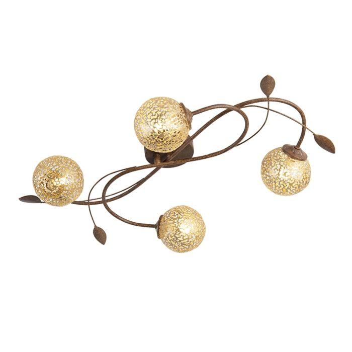 Landelijke-plafondlamp-4-lichts-in-roestbruin---Kreta