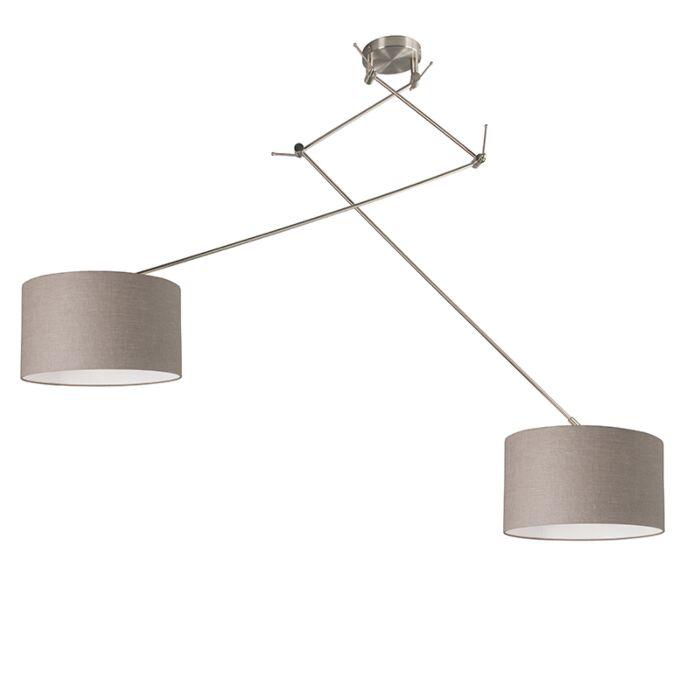 Hanglamp-staal-met-kap-35-cm-taupe-verstelbaar---Blitz-II