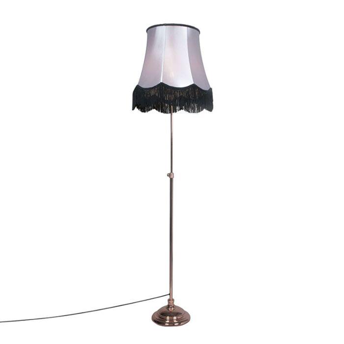 Vloerlamp-Accia-koper-met-kap-Granny-B-45cm-zwart-met-grijs