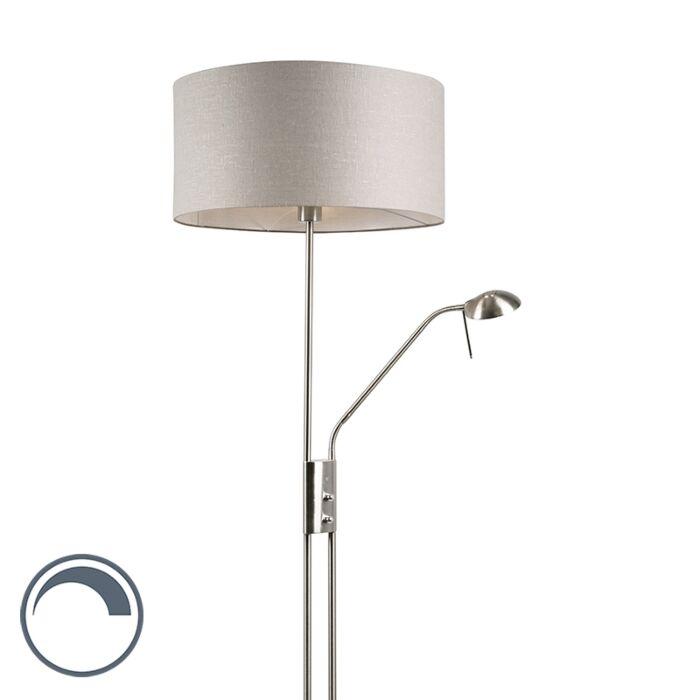 Vloerlamp-staal-en-grijs-met-verstelbare-leesarm---Luxor