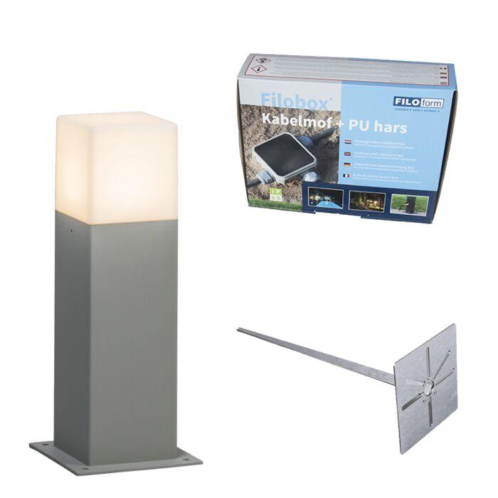 Buitenlamp-30-cm-grijs-met-grondpin-en-kabelmof---Denmark