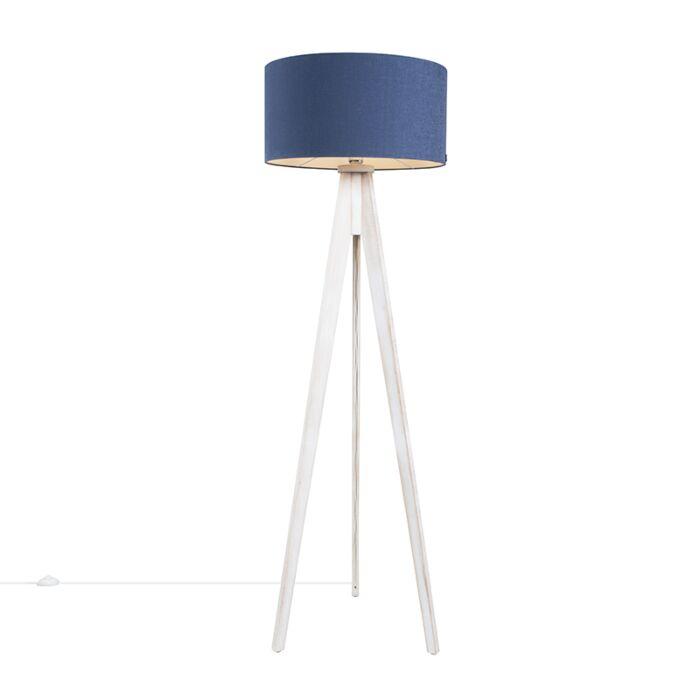 Vloerlamp-Tripod-Classic-wit-met-kap-50cm-antiek-blauw