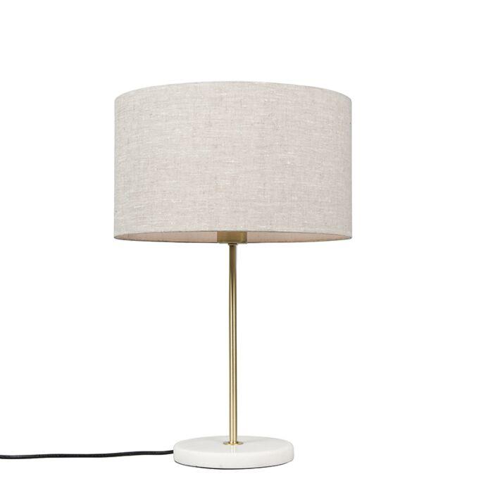 Tafellamp-messing-met-grijze-kap-35-cm---Kaso