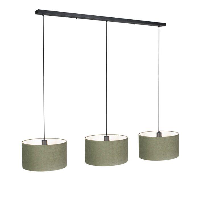 Hanglamp-Combi-3-zwart-met-kap-35cm-mos-groen