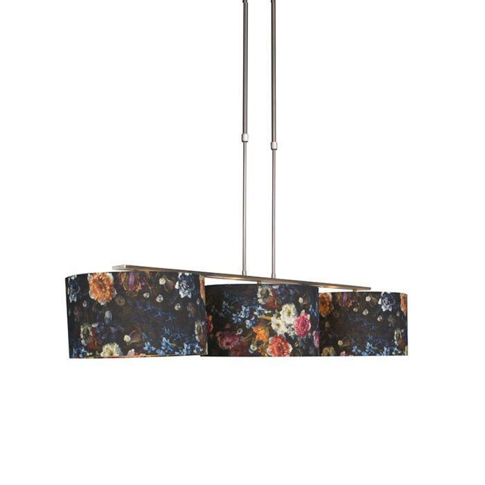 Moderne-hanglamp-staal-met-kap-35-cm-flora---Combi-3-Deluxe