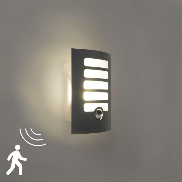 Buitenwandlamp-antraciet-incl-LED-met-bewegingsmelder---Grid