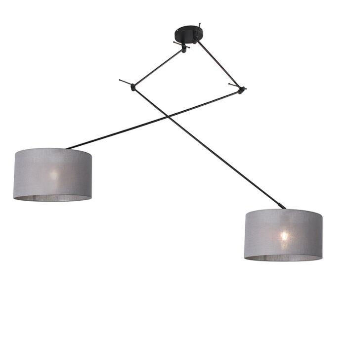 Hanglamp-zwart-met-kap-35-cm-grijs-verstelbaar---Blitz-II