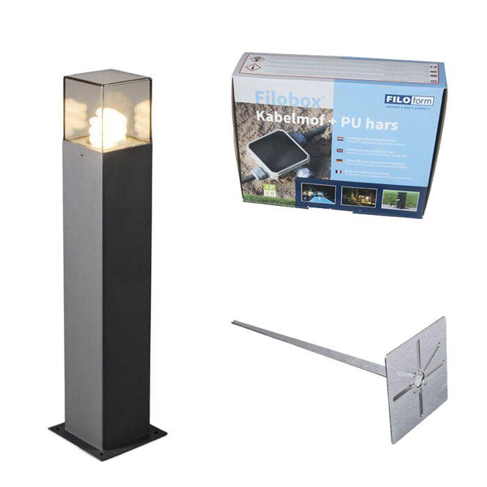 Buitenlamp-50-cm-antraciet-met-grondpin-en-kabelmof---Denmark