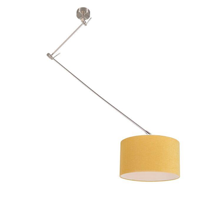 Hanglamp-staal-met-kap-35-cm-geel-verstelbaar---Blitz-I
