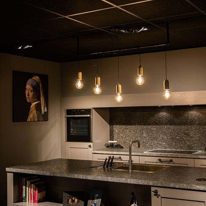 Industriële-hanglamp-zwart-met-beton-5-lichts---Cavoba