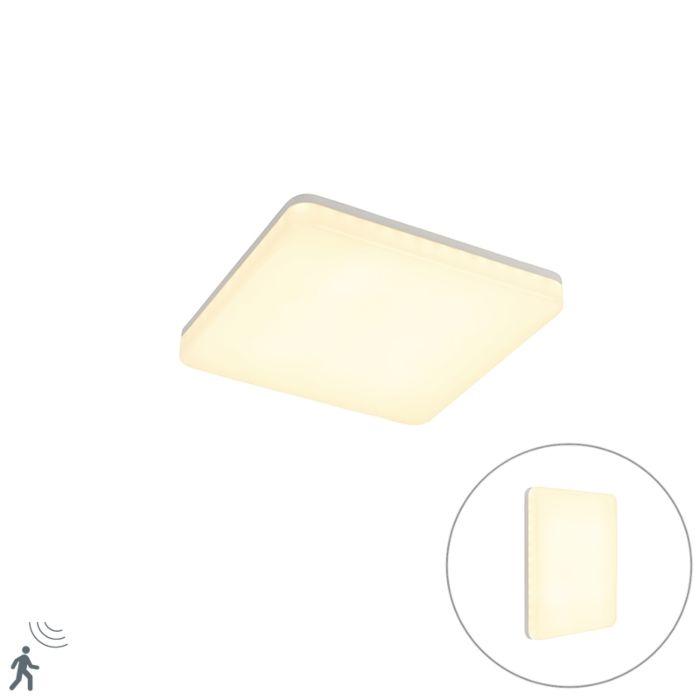 Plafondlamp-wit-vierkant-incl.-LED-en-bewegingsmelder---Plater