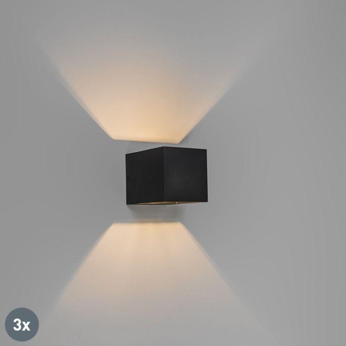 Set-van-3-moderne-wandlampen-zwart---Transfer