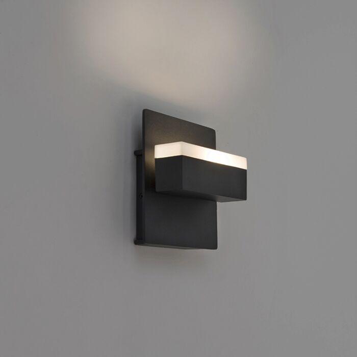 Moderne-rechthoekige-buitenwandlamp-zwart-incl.-LED---Prim