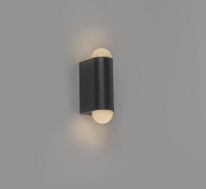 Moderne-buitenwandlamp-zwart-incl.-LED-met-2-lichtpunten---Prim
