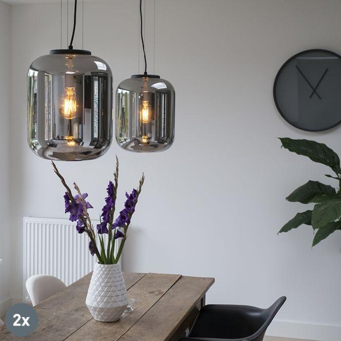 Set-van-2-design-hanglampen-zwart-met-smoke-glas---Bliss