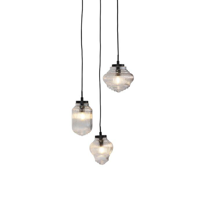 Art-Deco-hanglamp-zwart-met-helder-glas-3-lichts---Bolsena