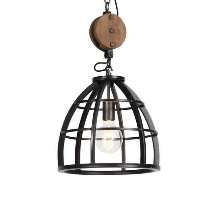 Industriële-ronde-hanglamp-zwart-staal-34,5-cm---Arthur