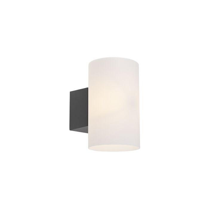 Moderne-ronde-buitenwandlamp-donkergrijs---Arcus
