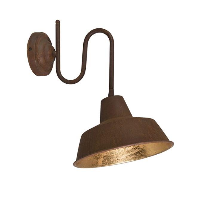Set-van-2-wandlampen-roest-met-gouden-binnenkant---Factory