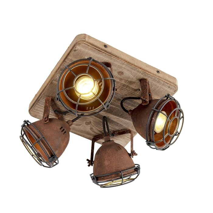 Industriële-spot-roestbruin-met-hout-kantelbaar-4-lichts---Gina