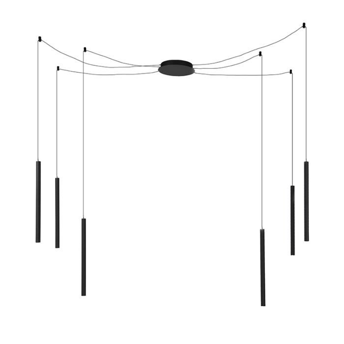 Moderne-hanglamp-zwart-met-6-lichtpunten-incl.-LED---Ragno