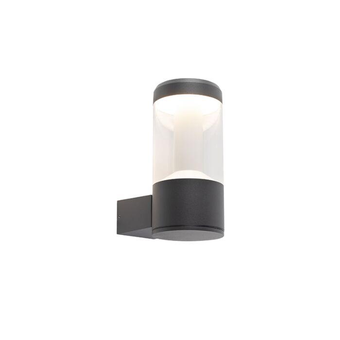 Moderne-ronde-buitenwandlamp-donkergrijs-IP54---Imcus